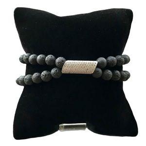 criss cross double row lava rock cz charm bracelet
